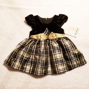 Bonnie Baby Gold / Black Mock Cardigan Dress 6-9 M